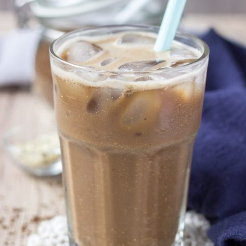 Added Sugar-free Iced Coffee Protein Shake with superfoods hemp seeds