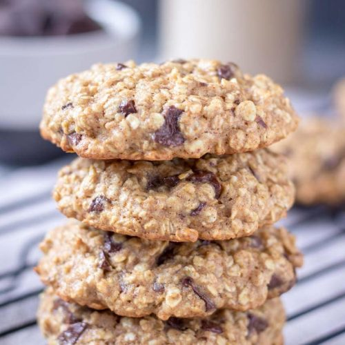Healthy Chocolate Oatmeal Cookies with dark chocolate chunks
