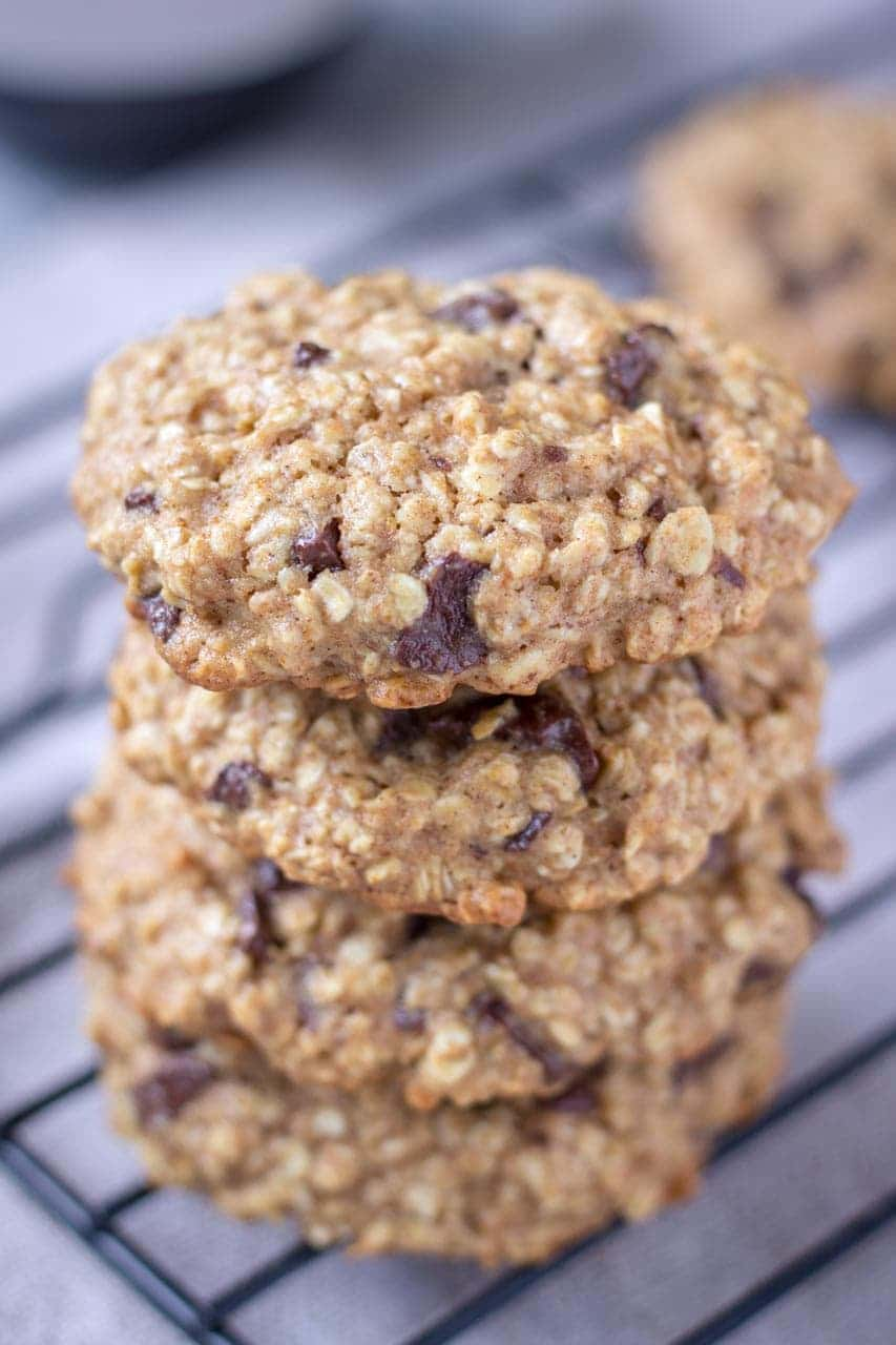 Healthy Chocolate Chip Oatmeal Cookies with dark chocolate chunks