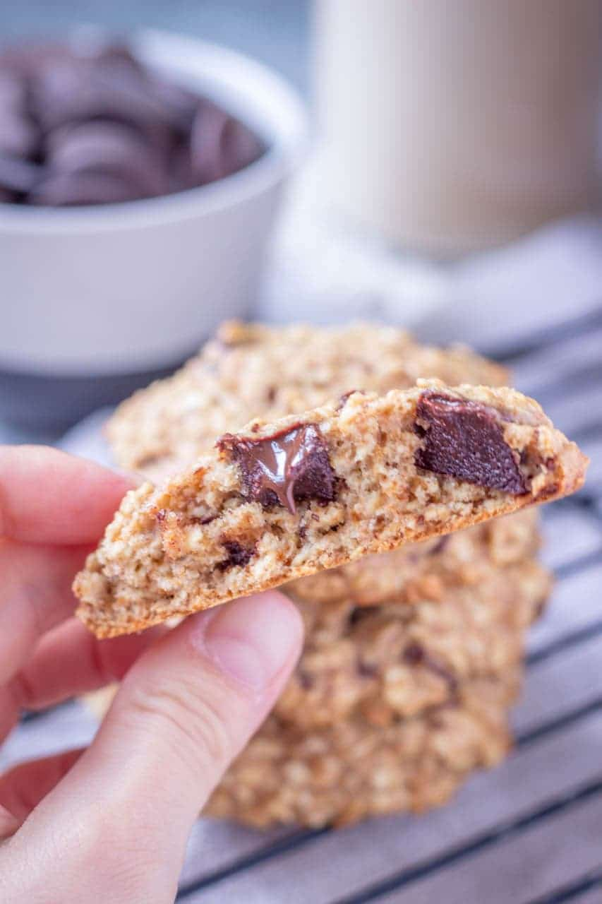 Healthy Chocolate Chip Oatmeal Cookies made with oats filled with dark chocolate chunks