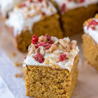 Pumpkin Bars with cream cheese frosting