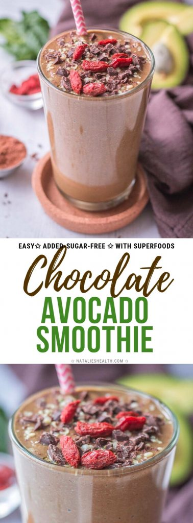 This deliciously rich and satisfying Chocolate Avocado Smoothie is packed with all HEALTHY ingredients and completely added-sugar-free. Perfect breakfast!