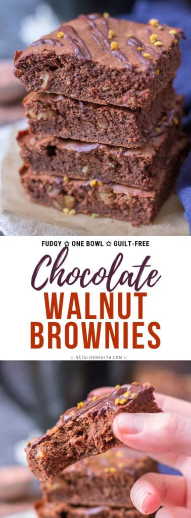 Fudgy Cacao Walnut Brownies are a perfect chocolaty treat loaded with SUPERFOODS. These walnut brownies are super HEALTHY and completely guilt-free. Best walnut brownie recipe EVER!