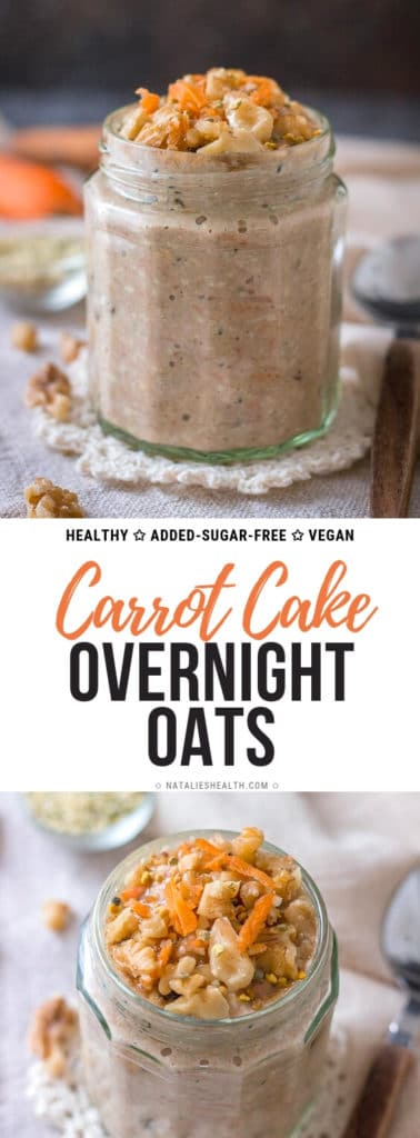 These Carrot Cake Overnight Oats are one delicious, extra nutritious and healthy breakfast. It tastes just like indulgent carrot cake dessert. No added sugars, loaded with SUPERFOODS, unbelievably good for your health and sooo creamy, sweet and yummy.