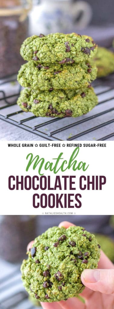 Matcha Chocolate Chip Cookies with oats and cacao nibs