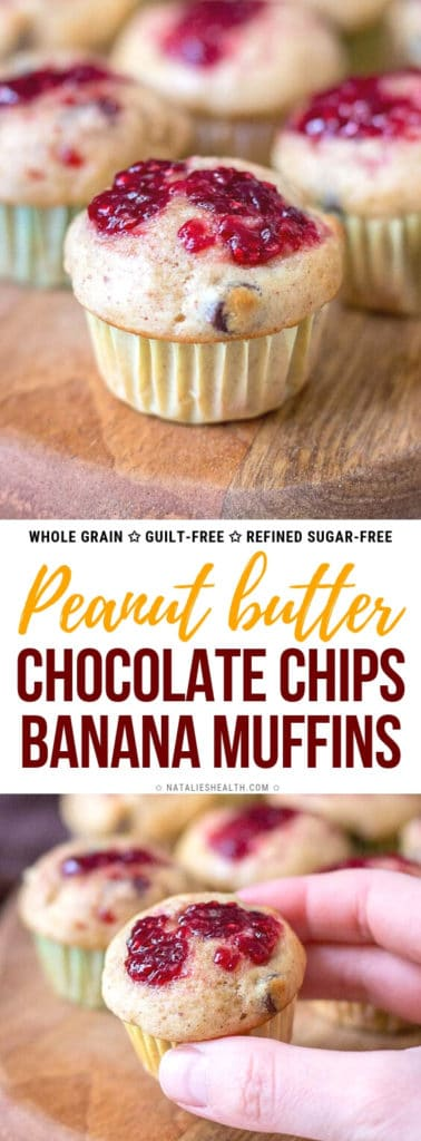 Peanut Butter Banana Muffins with chocolate chips are HEALTHY guilt-free snack. Made without refined sugars and loaded with flavor, these are irresistible!