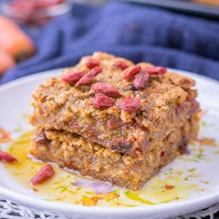 Healthy Carrot Cake Baked Oatmeal with Goji berries