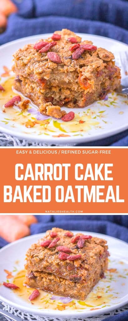This delicious, sweet and incredibly flavorful Carrot Cake Baked Oatmeal is perfect morning treat. It's loaded with nutrients, super-spices and SUPERFOODS. + It's refined sugar-free.