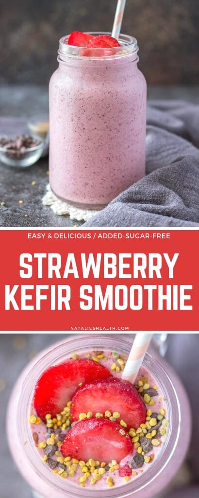 Rich and creamy, Strawberry Kefir Smoothie is a great way to start the day. This kefir drink is loaded with probiotics and SUPERFOODS, vegan and without added sugars. Perfect morning drink!