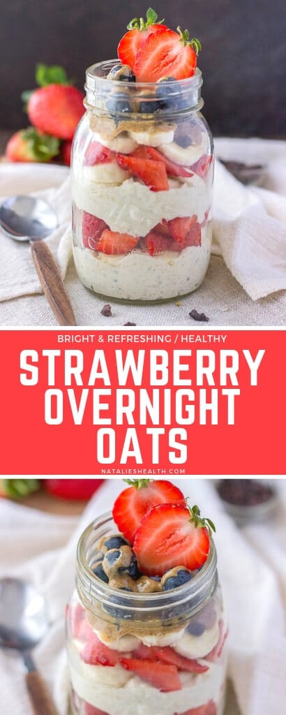 This Strawberry Overnight Oats recipe is perfect make-ahead breakfast. These overnight oats with yogurt are creamy, packed with nutrients and superfoods.