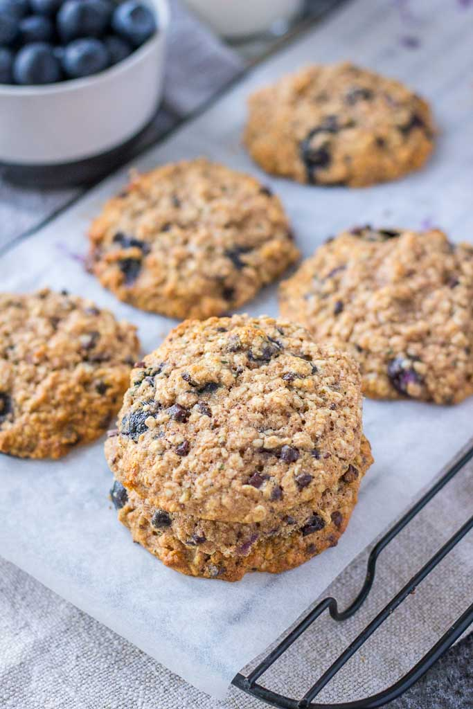Healthy oatmeal cookies with blueberries banana and chocolate chips