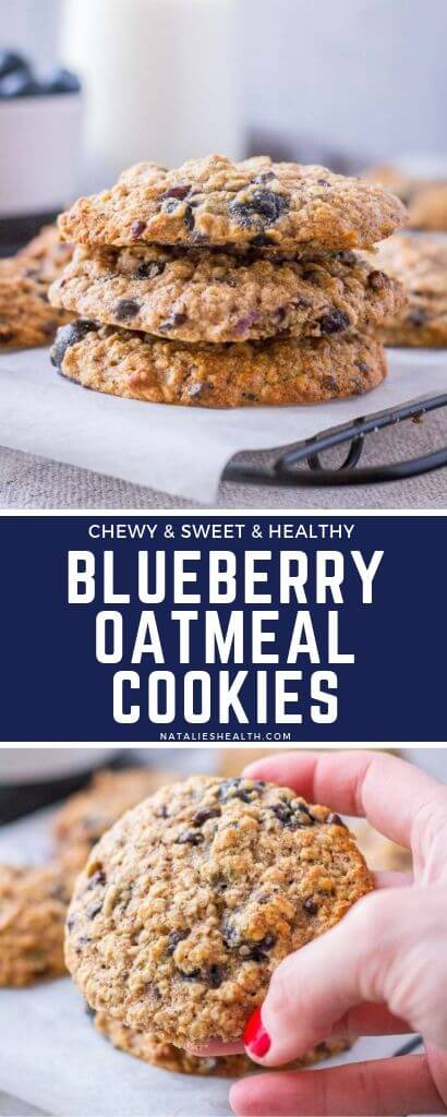 Deliciously thick, soft, and chewy cookies that are HEALTHY and loaded with fresh blueberries!