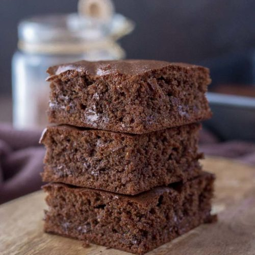 Healthy Double Chocolate Almond Butter Brownies made with cacao powder and without refined sugars