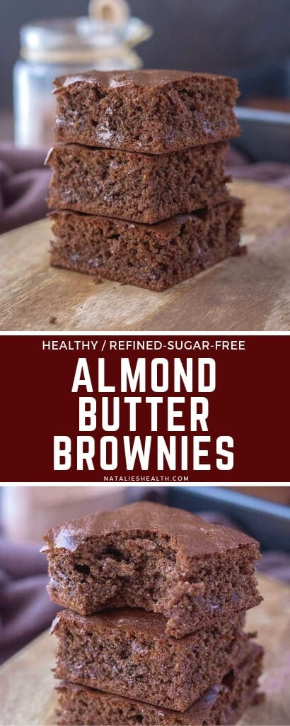 These ultimate rich almond brownies are insanely easy to make and loaded with intense chocolate flavor! Made with HEALTHY ingredients, without refined sugars, grains or dairy, these are decadent but good for you. Naturally gluten-free and can be made vegan.