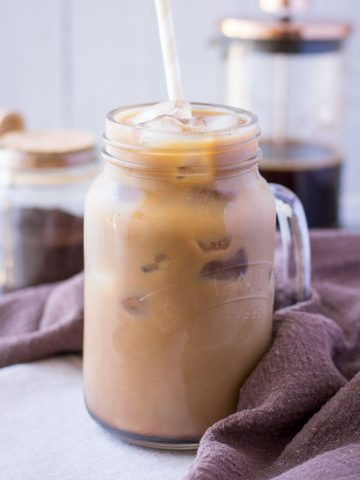 Cold brewed Iced Mocha Latte with cacao powder