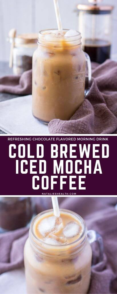 Cold brewed coffee, creamy almond milk, and velvety cacao make the ultimate indulgence in this Iced Mocha Latte. This iced coffee drink is smooth, bold, and chocolatey. Perfect morning coffee boost that is deliciously refreshing.