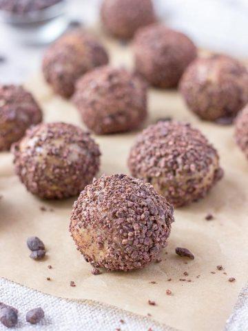 6 ingredient Vegan Gluten Free No Bake Peanut Butter Balls with Chocolate Chips