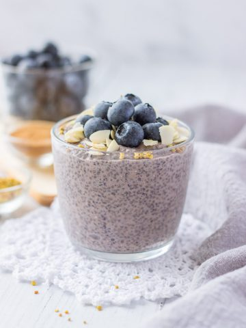 Blueberry Chia Pudding with fresh blueberries and almonds