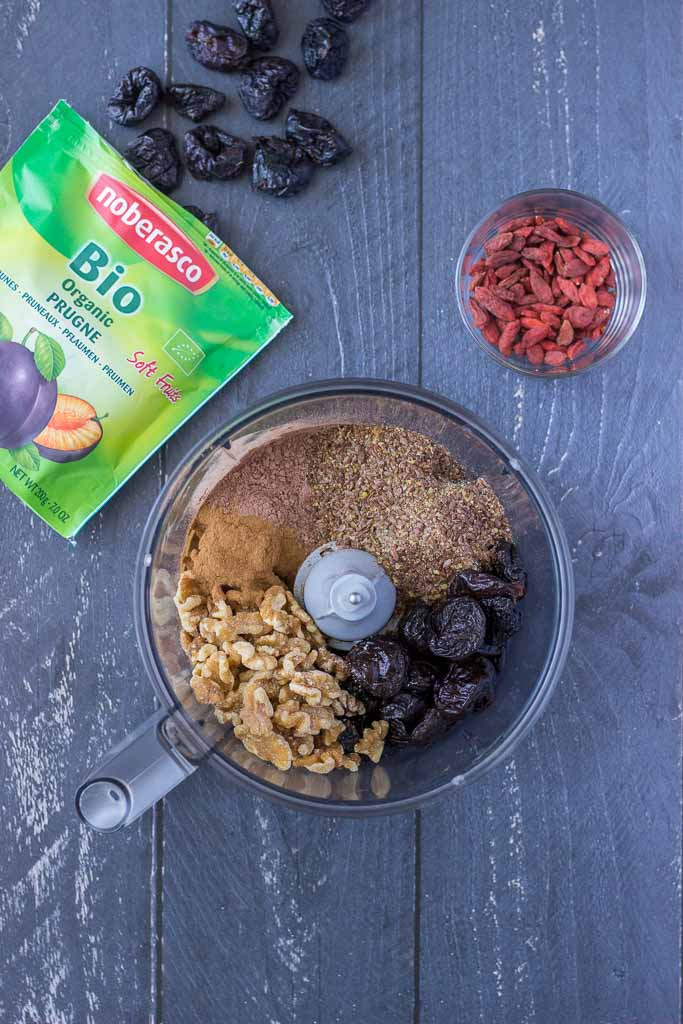 Process of making Energy Balls recipe with prunes walnuts and goji berries
