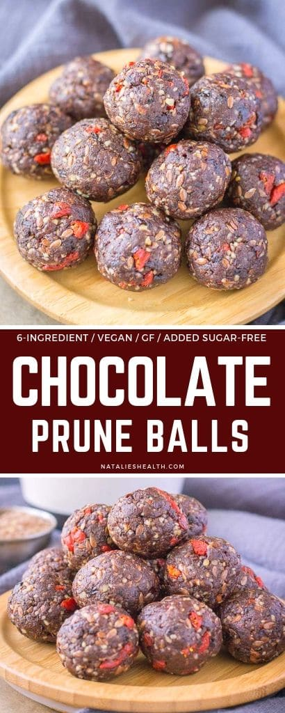Chocolate Prune Energy Balls are a perfect healthy snack! These 6-ingredient energy balls are delicious way to boost your energy and metabolism.