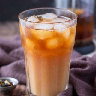Cold Brewed Iced Earl Gray Latte served in a glass