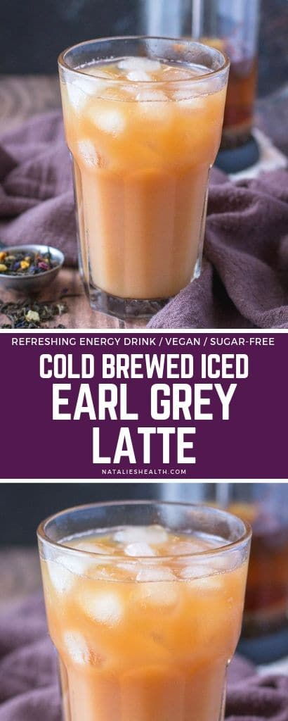 Cold Brewed Iced Earl Gray Latte is lightly-sweet, creamy and flavorful, easy to make drink. Perfect Summer refreshment without excess calories.
