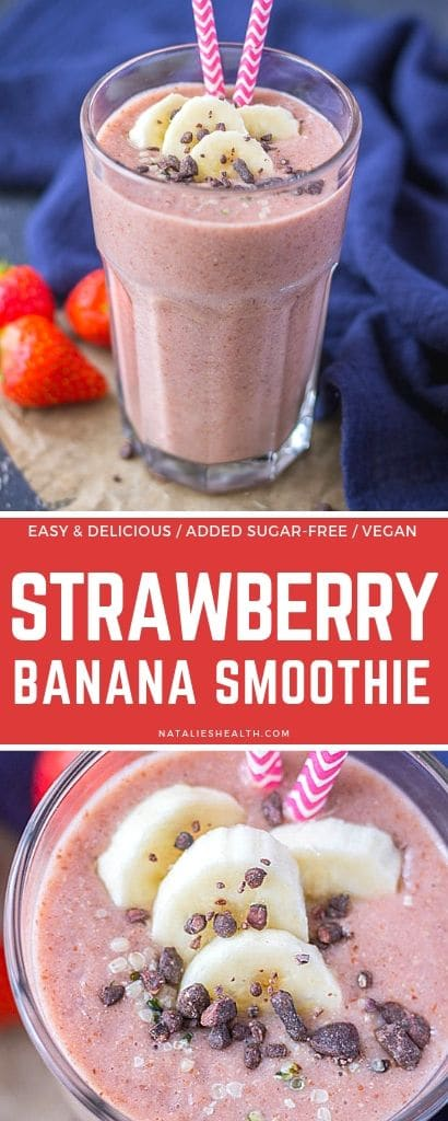Sweet and creamy, Strawberry Banana Smoothie is easy to make treat that your whole family will like. It's healthy, packed with fruity flavors, delicious.