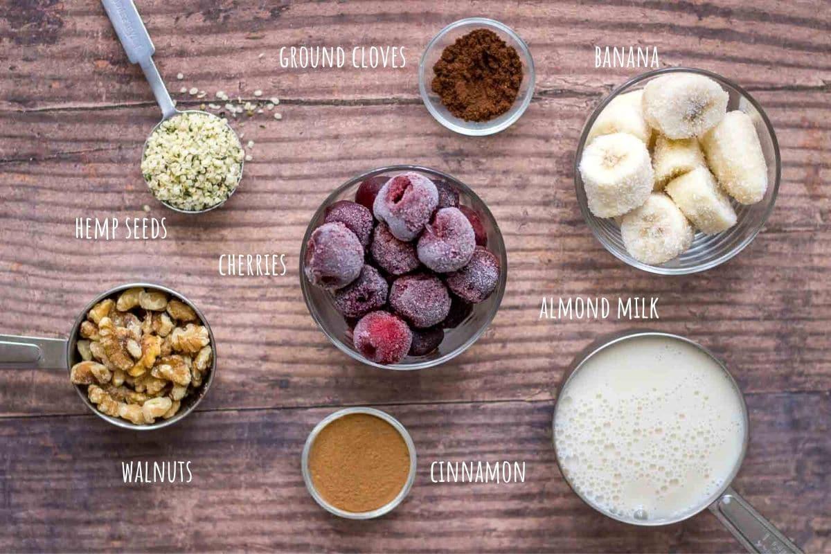 Cherry Banana Smoothie ingredients