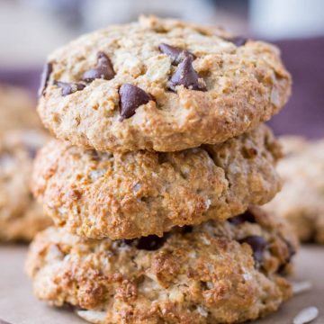 Healthy Tahini Oatmeal Cookies with chocolate chips and sunflower seeds