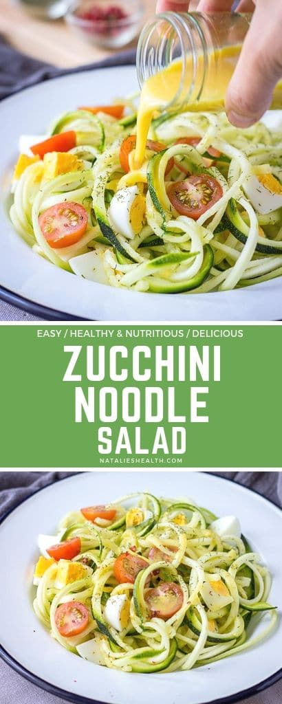 Egg Zucchini Noodle Salad with cherry tomatoes and mustard flaxseed oil vinaigrette
