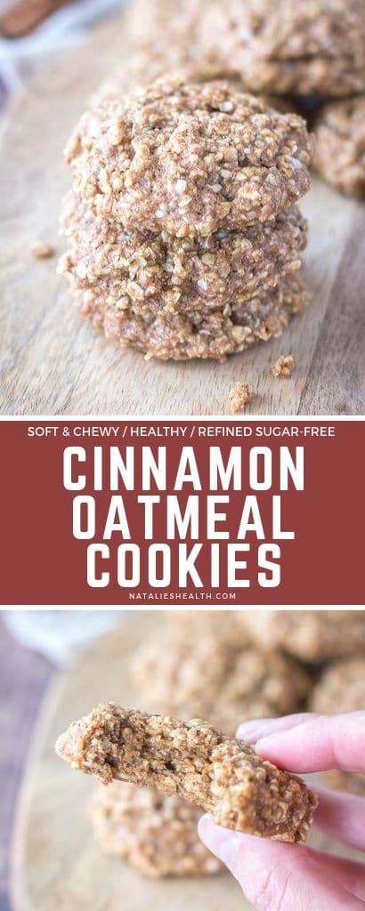 Soft and chewy these Cinnamon Oatmeal Cookies are perfect treat. Loaded with cinnamon, nutritious yet without refined sugars, these are delicious!