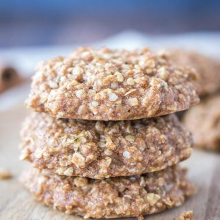 Cinnamon Oatmeal Cookies on a wooden plate
