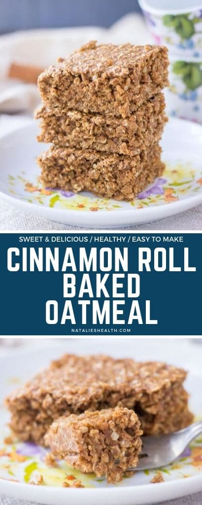 Satisfy your sweet morning cravings in a healthy way with this delicious Cinnamon Roll Oatmeal Bake! It's perfect make-ahead breakfast for busy mornings.