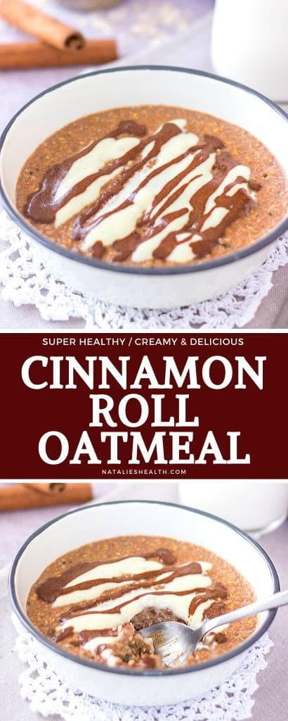 Creamy and delightful, this Cinnamon Roll Oatmeal is perfect HEALTHY breakfast. It's packed with nutrients and incredible flavor.