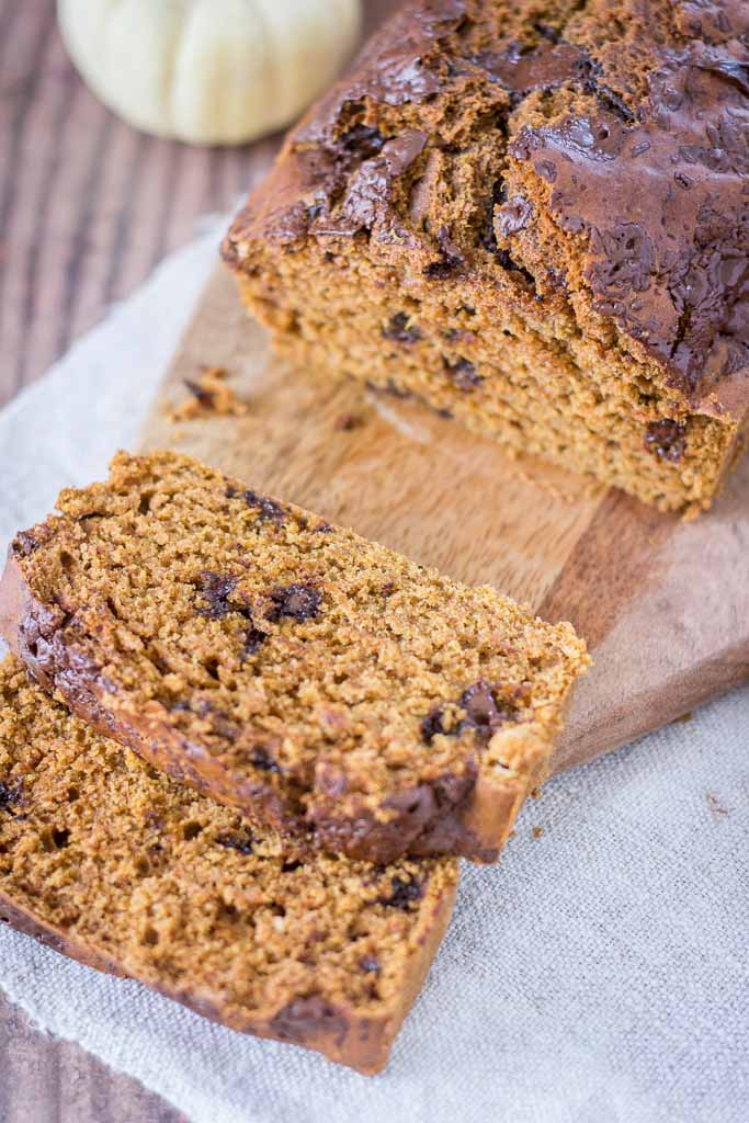 Pumpkin Chocolate Chip Bread made with homemade pumpkin puree and filled with pumpkin pie spice