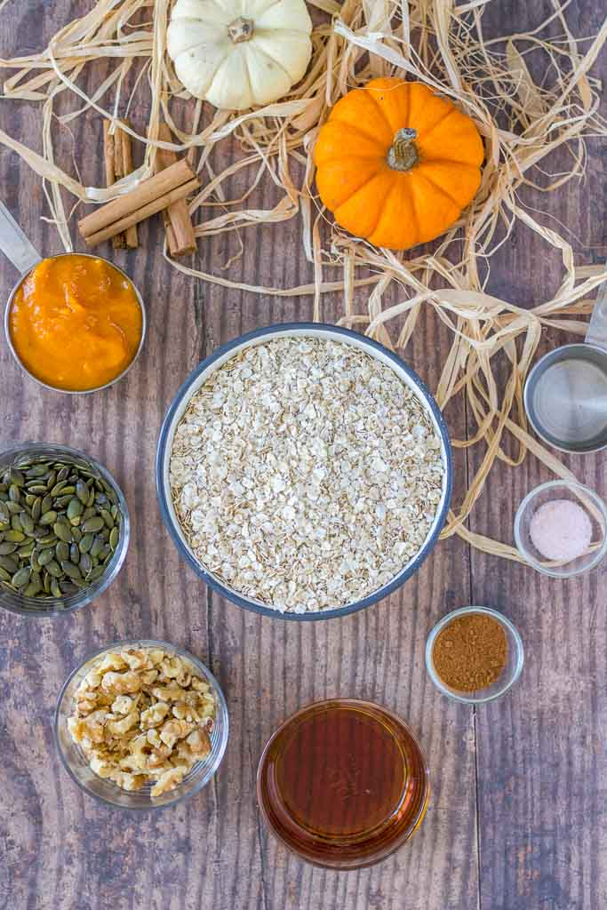 Healthy Pumpkin Granola with homemade pumpkin puree, pumpkin seeds, walnuts, and dried fruits