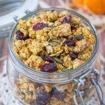 Healthy Pumpkin Granola with pumpkin puree, pumpkin seeds, walnuts, and pumpkin spice