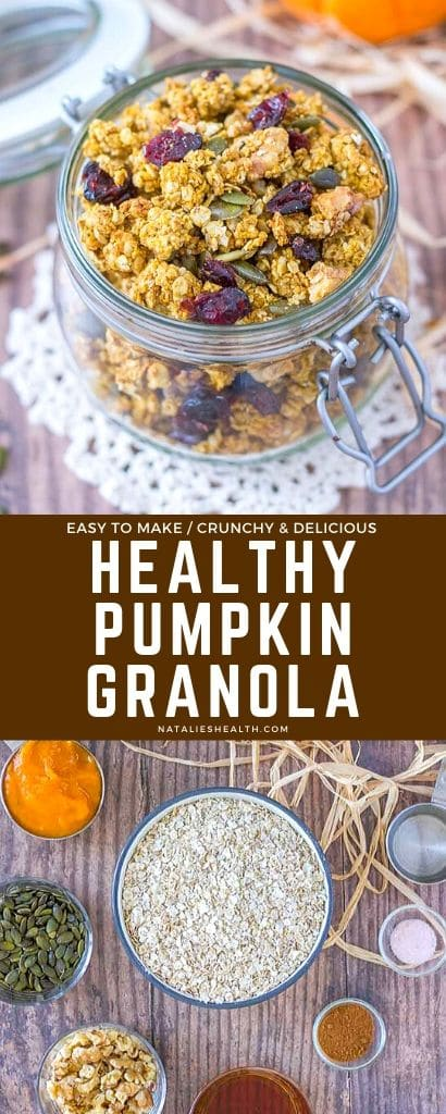 Crunchy, sweet, and flavorful, this Pumpkin Granola is a perfect HEALTHY breakfast! It's loaded with nutrients, easy to make, and refined sugar-free.