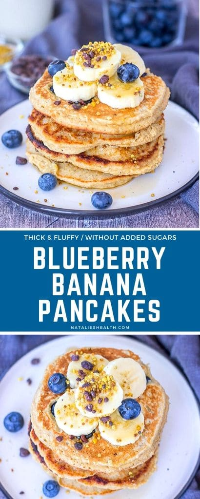 Sweet, thick, fluffy, and incredibly satisfying, Blueberry Banana Pancakes are a delightful family treat. Made with oats and without added sugars, these banana pancakes are heart-healthy, high in fiber breakfast, done in 15 minutes flat!