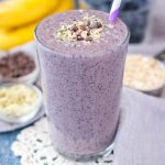 Healthy Blueberry Banana Smoothie with fresh fruits and oats