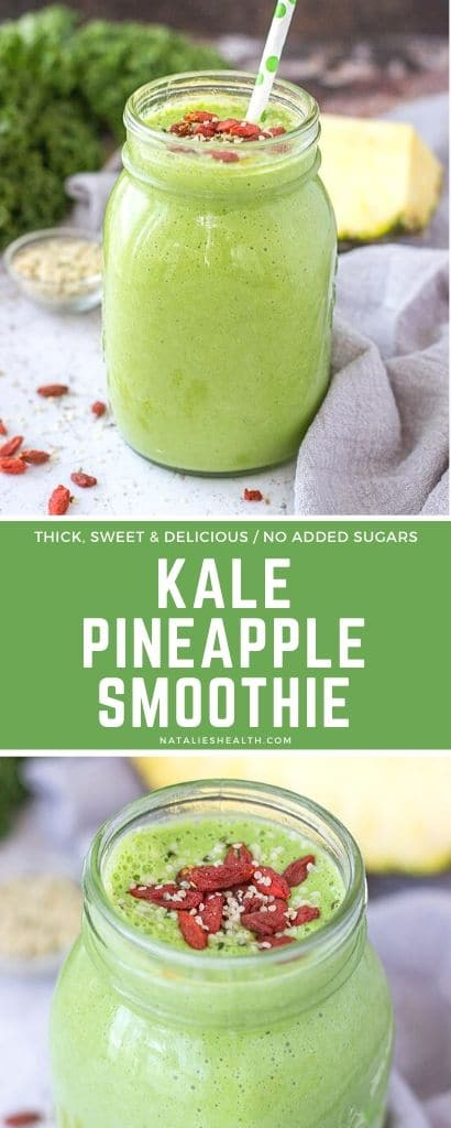 Start your day with this SUPERFOOD Kale Pineapple Smoothie. It's sweet and satisfying, nutritious and low calorie. Made without added sugars and super simple to make.