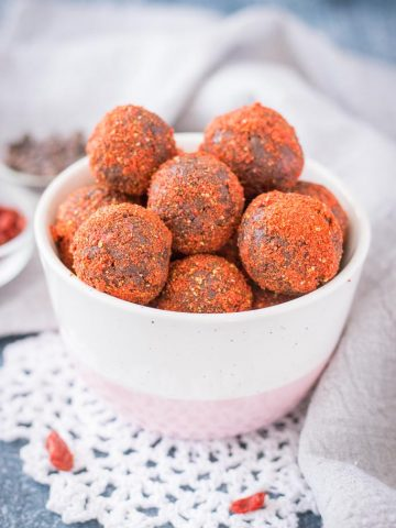 Chocolate Maca Balls with goji berries and walnuts