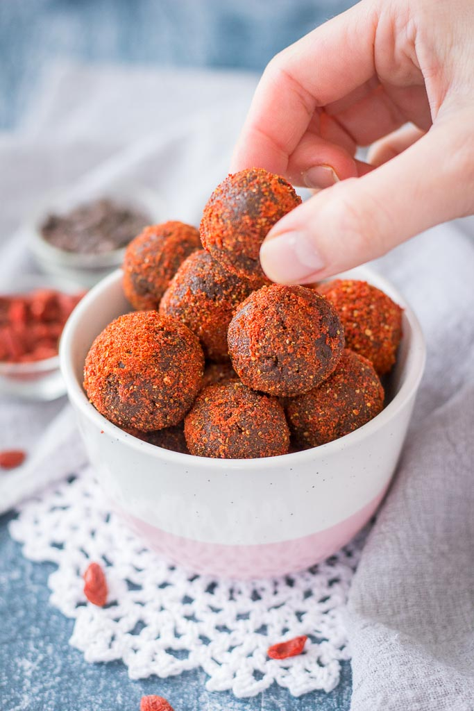 Maca Chocolate Balls with goji berries and walnuts