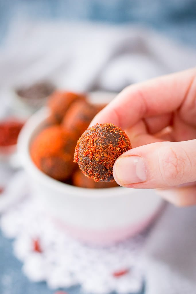 Chocolate Maca Energy Balls with goji berries