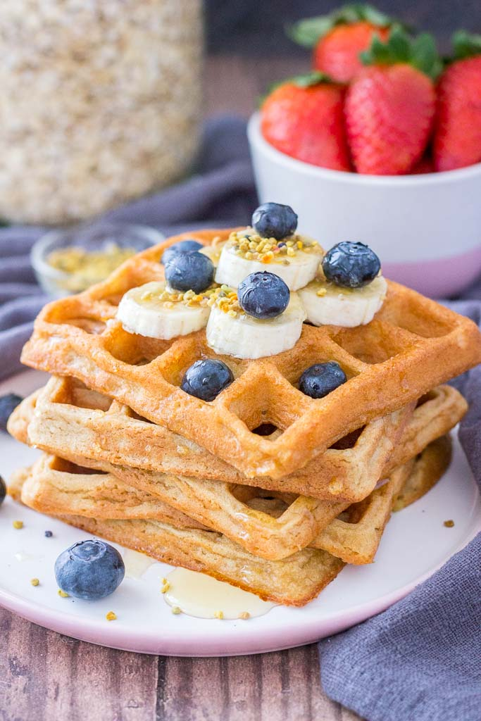Oatmeal Waffles topped with fresh fruits