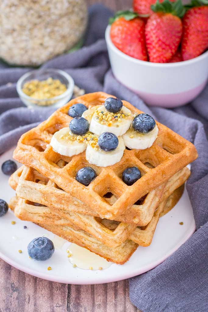 Oatmeal Waffles topped with blueberries and banana