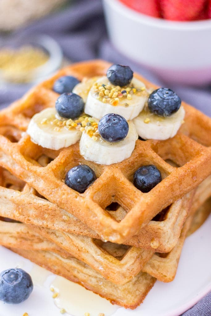 Healthy Oatmeal Waffles topped with blueberries and banana