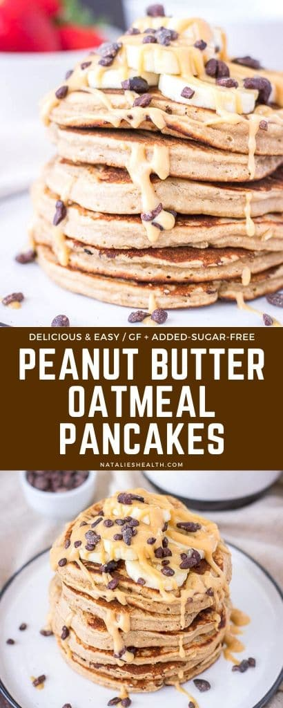 These Peanut Butter Oatmeal Pancakes are perfect indulgent guilt-free breakfast - yummy, sweet and so HEALTHY. + Easy to make with few simple ingredients!