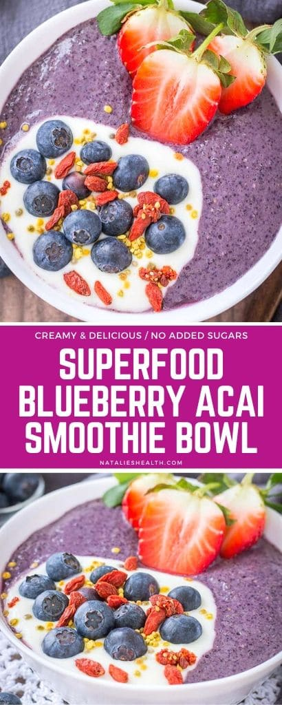 This thick and creamy Blueberry Acai Smoothie Bowl is perfect healthy breakfast. It's packed with nutrients, incredibly delicious, and without added sugars! (V,GF)