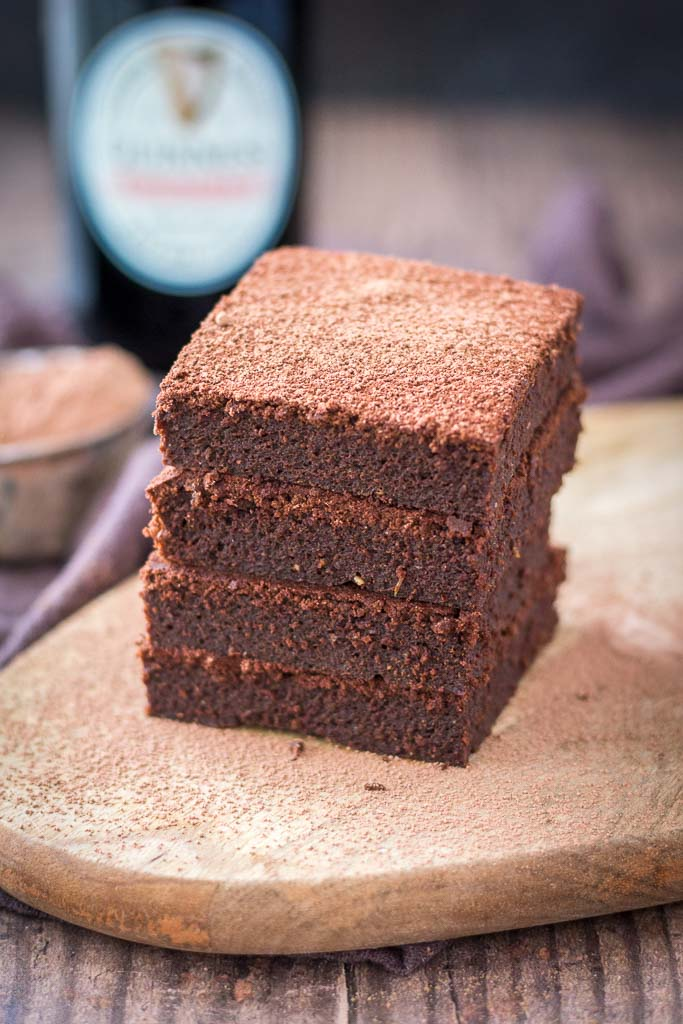 Dark Chocolate Guinness Brownies made with Guinness stout